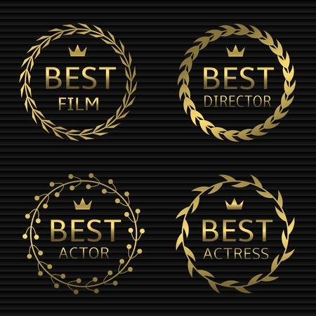 cinematograph: Best film, best actor, best director, best actress awards. Golden laurel wreath label set