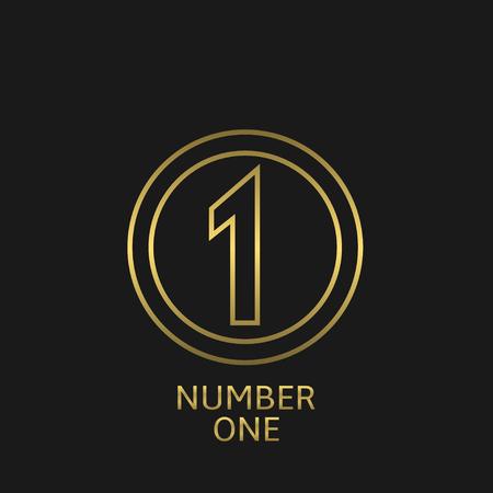 Golden number one icon. Victory award best winner symbol