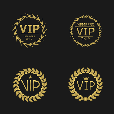 wreath set: VIP. Members only, Golden laurel wreath set Glamour royal luxury concept Illustration