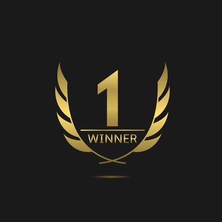winners podium: Golden number one icon. Victory award best winner concept. Laurel wreath symbol