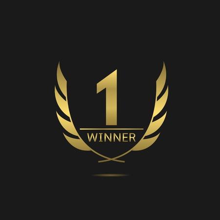 Golden number one icon. Victory award best winner concept. Laurel wreath symbol