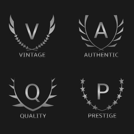 prestige: Silver business  set. Vintage Quality Prestige Authentic Illustration