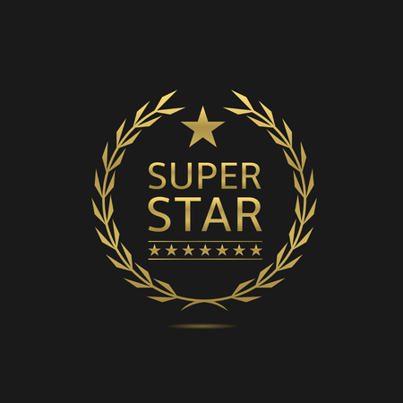 super star: Super star badge. Golden laurel wreath. VIP, celebrity, pathos concept symbol