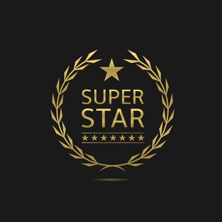 Super ster badge. Gouden lauwerkrans. VIP, beroemdheid, pathos begrip symbool