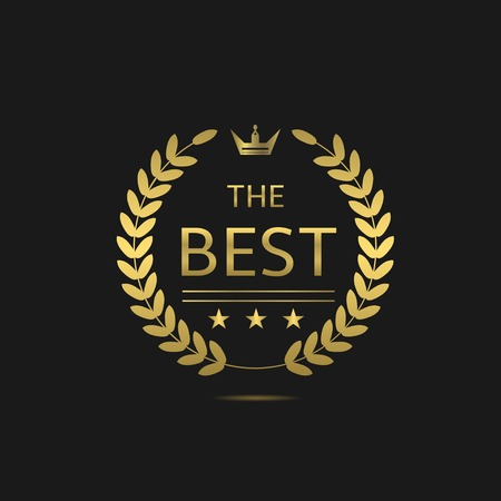 one to one: The Best award label. Golden laurel wreath with crown symbol Illustration