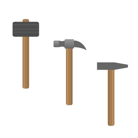 disruption: Metal Hammers with wooden handles. Vector illustration