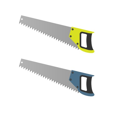 timber cutting: Hand Saw set. Carpentry tools, Vector illustration
