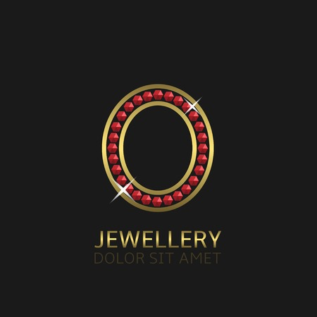 precious stones: Golden Letter O  with red precious stones. Luxury, royal concept. Vector illustration