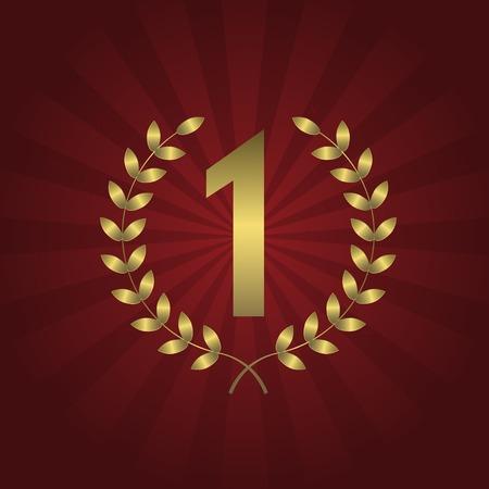 primer lugar: En primer símbolo de la concesión del lugar con corona de laurel de oro en el fondo abstracto rojo