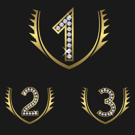jeweller: Award set encrusted with diamonds. Golden Laurel wreaths, Vector Illustration Illustration