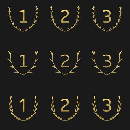 jeweller: Golden Laurel Wreath Award set. Vector Illustration Illustration