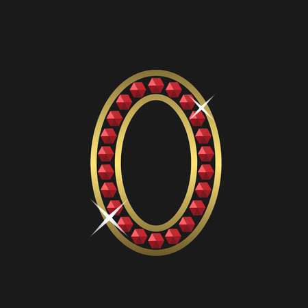 jeweller: Golden zero symbol with red jewels. Luxury, royal concept. Vector illustration