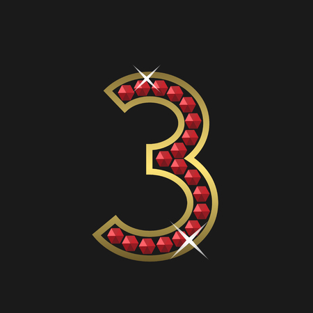 jeweller: Golden number three symbol with red jewels. Luxury, royal concept. Vector illustration