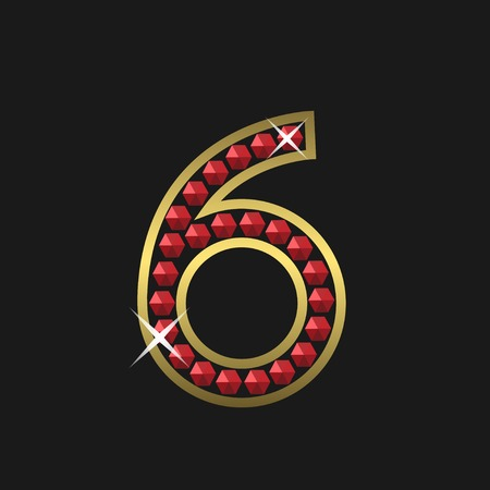 jeweller: Golden number six symbol with red jewels. Luxury, royal concept. Vector illustration