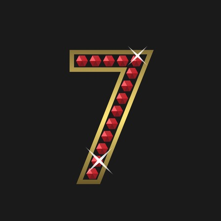 jeweller: Golden number seven symbol with red jewels. Luxury, royal concept. Vector illustration