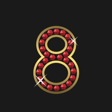 071b2f4c58d1 Foto de archivo - Oro número ocho símbolo con joyas rojas. De lujo