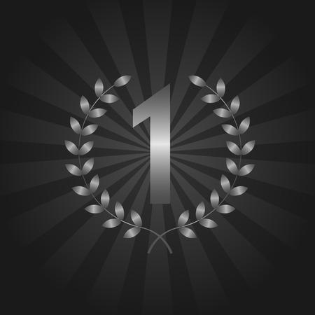 first place: En primer símbolo de la concesión del lugar con corona de laurel de plata en el fondo abstracto oscuro Vectores