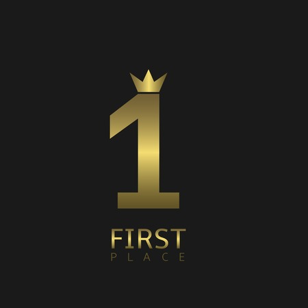 first place: First  place symbol. Golden number one with crown icon, Vector illustration Illustration