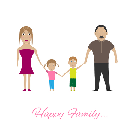happy kids: Happy Family portrait. Parents with kids, Vector illustration Illustration