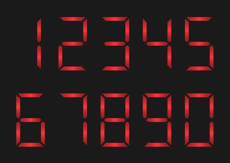Red Number set. Digital display. Alarm, danger concept Illustration