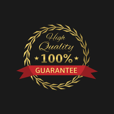 quality guarantee: High Quality guarantee badge. Golden laurel wreath, Vector illustration