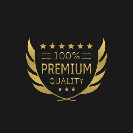 Premium Quality badge. Golden laurel wreath, Vector illustration