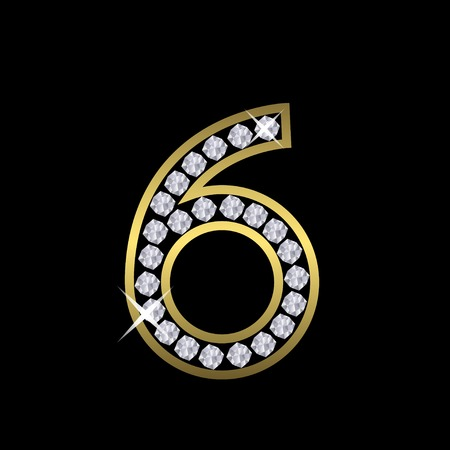 Golden metal number six sign with diamonds. Luxury, royal, wealth, glamour symbol. Vector illustration