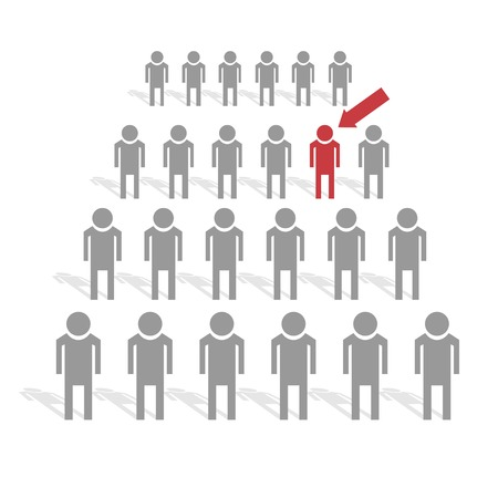One among many. Crowd of people, Vector illustration Иллюстрация