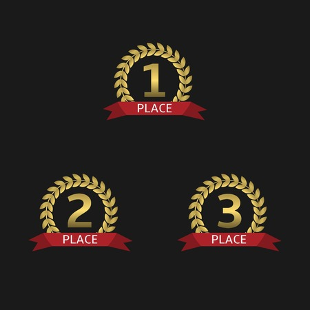 Golden Laurel wreath awards with red ribbons. First, second and third places. Vector illustration