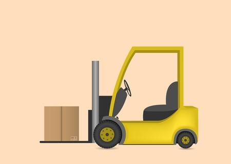 montacargas: Cami�n amarillo de elevaci�n tenedor con la caja. Ilustraci�n vectorial