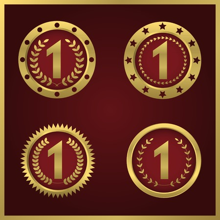 first place: First place symbol set. Golden number one with laurel wreath icon, Vector illustration