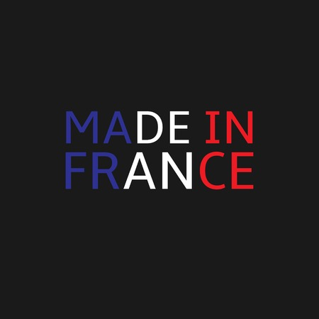 french produce: Made in France text. Colours of France flag, Vector illustration