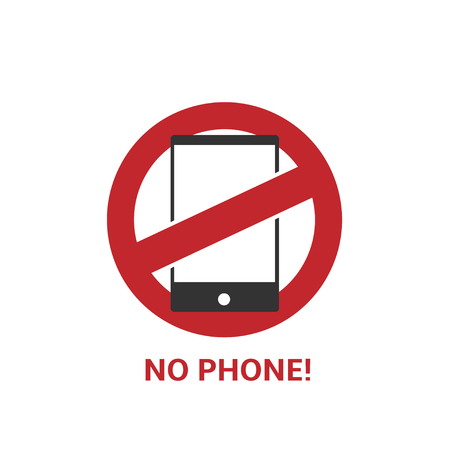 telephony: No phone icon. Red inhibitory sign, Vector illustration