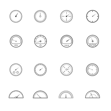 tachometer: Speedometer and tachometer set on the white background. Vector illustration