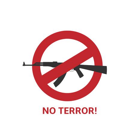 L'icône de la terreur. pistolet noir et rouge signe inhibitrice ronde