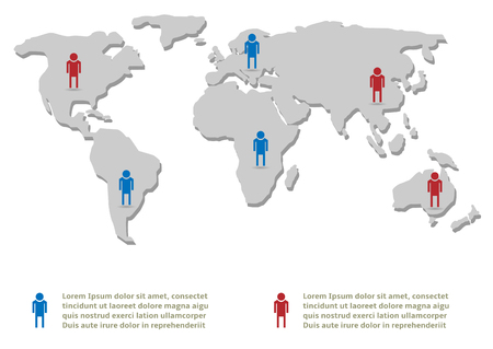 demography: People infographic template. World map, Vector illustration Illustration