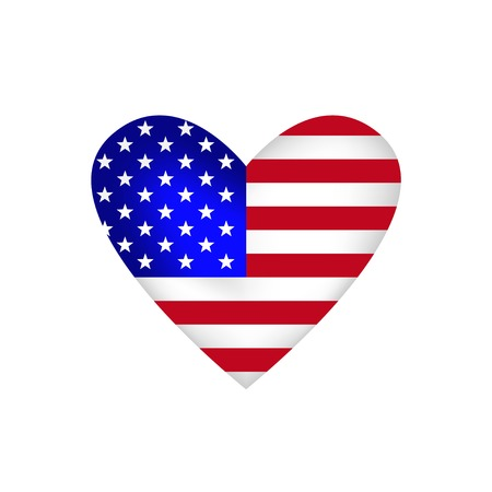 united stated: National flag of the USA. Shape of heart, Vector illustration Illustration