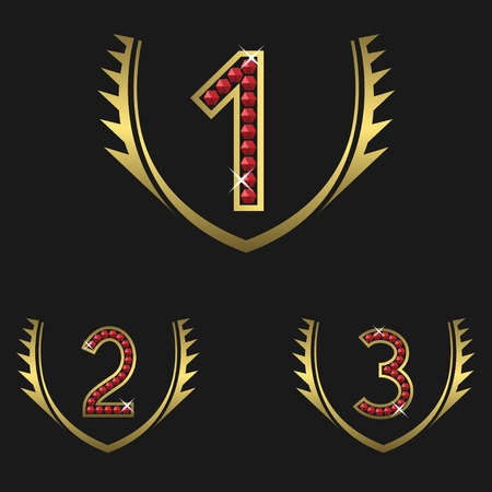 1 place: Golden Laurel wreath award set with numbers encrusted with diamonds. First, second and third places. Vector illustration