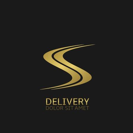 Logotipo de la empresa de entrega. Símbolo carretera de Oro, Ilustración vectorial