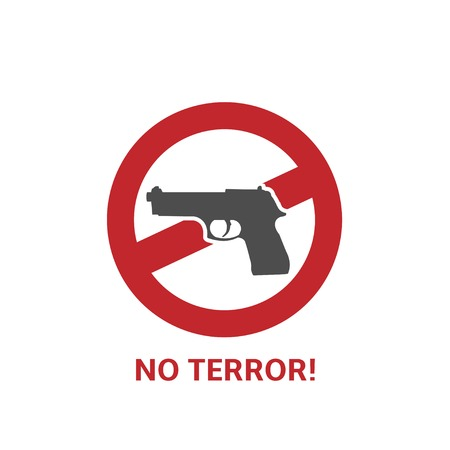 terror: No terror icon. Black gun and red round inhibitory sign