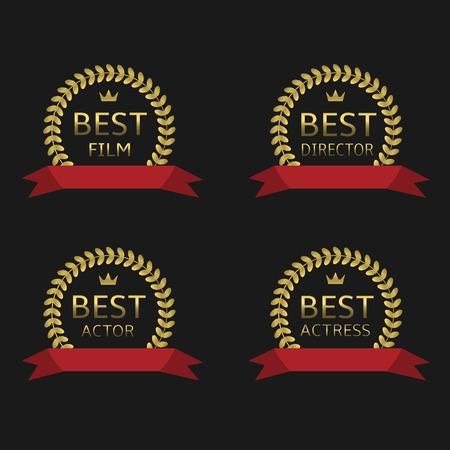 actress: Best film, best actor, best director, best actress awards. Golden laurel wreath label set