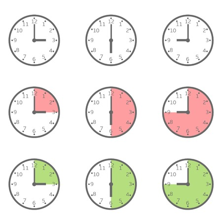 fixed: Clock icon set. Fixed period, Vector illustration Illustration
