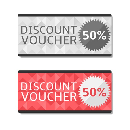 50 off: Discount voucher cards. 50% off. Vector illustration