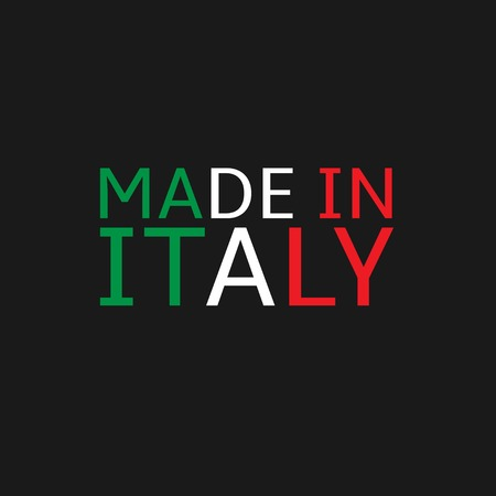 french produce: Made in Italy text. Colours of Italy flag, Vector illustration