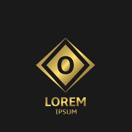 rhomb: Letter O  template with golden frame. Vector illustration