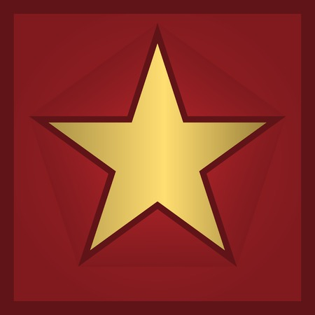 star award: Golden star award on the red background. Vector illustration