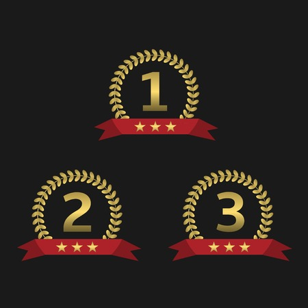 1 place: Golden Laurel wreath awards with red ribbons. First, second and third places. Vector illustration