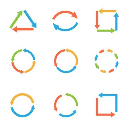 orientation marker: Coloured round arrow set for web design. Refresh, load or reload symbols. Vector illustration Illustration