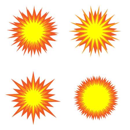 bomb explosion: Explosion icon set. Fire symbols, Vector illustration Illustration