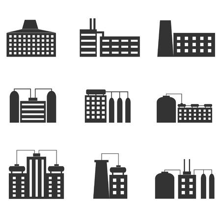 heavy set: Factory icon set. Heavy industry, Vector illustration Illustration